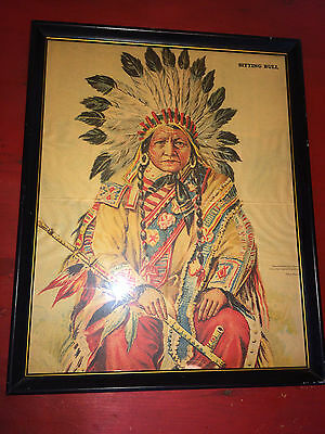 Vintage Sitting Bull Framed Colored Culver Pictures Indian Poster