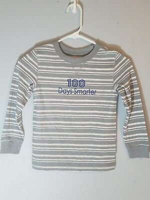 """AA23 *Boys size 5T Cat & Jack """"100 DAYS SMARTER"""" striped thermal shirt"""