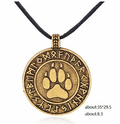 PAW PRINT VIKING NORSE STYLE NECKLACE w RUNES, Faux Antique Gold, FREE SHIPPING!