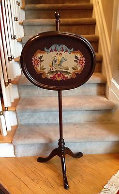 Antique Tripodal Pole Fire Screen Needlepoint Mahogany WILD BIRD