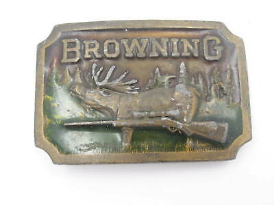 Vintage 1977 Browning Indiana Metal Craft Belt Buckle (A59)