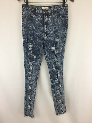 f65c04ee370425 Vibrant Womens Jeans 13 Skinny High Waisted Distressed Destroyed Acid Stone  Wash