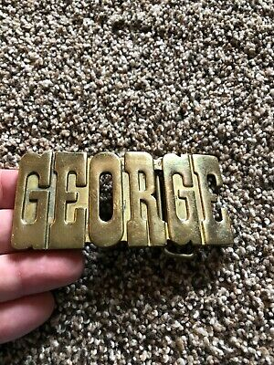 Vintage Brass Metal Belt Buckle GEORGE Name