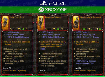 Diablo 3 Ps4 - Xbox One - UNMODDED Primal - 3x Quivers for Demon Hunter