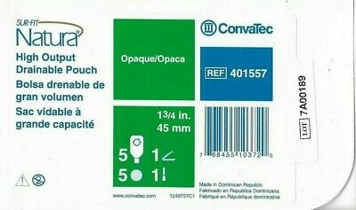 One Box ConvaTec 401557 Sur-Fit Natura High-Output-Pouch, 1 3/4 in, 45 mm-Opaque