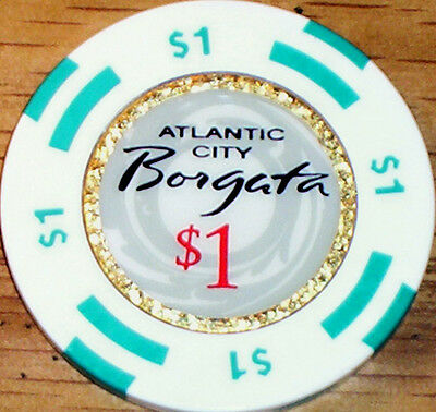 Old $1 BORGATA Casino Poker Chip Vintage BJ House Mold Atlantic City NJ