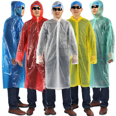 2Pcs Disposable Adult Poncho Raincoat Travel Camping Emergency Hooded Rain Coat