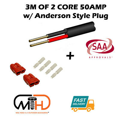 3m 50 Amp Anderson Plug Extension Lead 6mm Twin Core Automotive Cable Wire RED