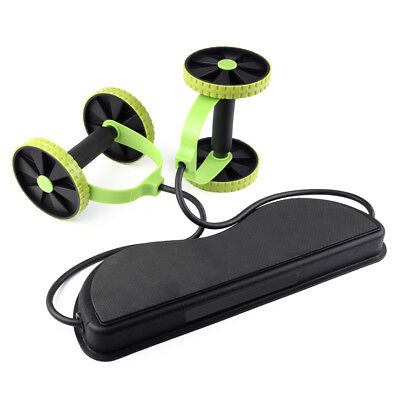 Double Wheels Ab Roller Pull Rope Waist Abdominal Slimming Equipment Fitness New
