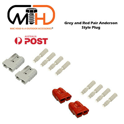 Anderson Style Plug connector 50AMP Caravan Trailer Solar 6AWG RED AU Grey 2 Set
