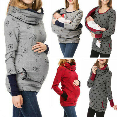 Women's Pregnant Hoodie Sweatershirt Maternity Breastfeeding Nursing Jumper Top