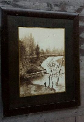 19th-Century Framed Watercolor, Autumn Pastoral Scene, Signed Charles Walters #1