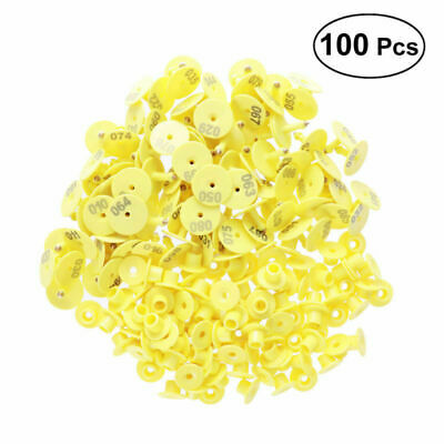 100 Goat Sheep Pig Cattle Beef Plastic Livestock Ear Tag Number Tag 1-100 Yellow