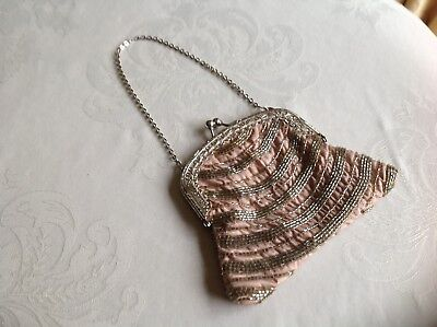 Next vintage style Pink and Silver Coloured Evening Bag