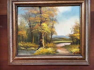 Autumn Landscape Original Oil Painting C Hirsch Yellow Trees Framed Small 10x8