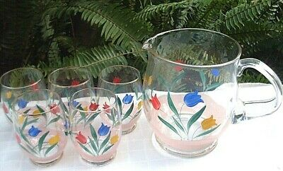 RARE Vintage ALPINE GLASS Germany HAND-PAINTED JUG & GLASSES SET Collectable AUS