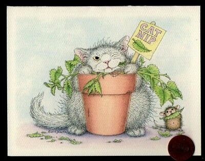 House Mouse Cat Kitten Playing Violin Mouse Small Blank Greeting Note Card