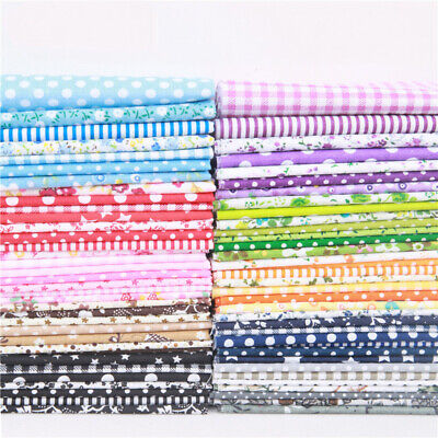 7 Pcs 100% Cotton Fabric Assorted Pre-Cut Fat Quarters Bundle DIY Decor 25x25cm