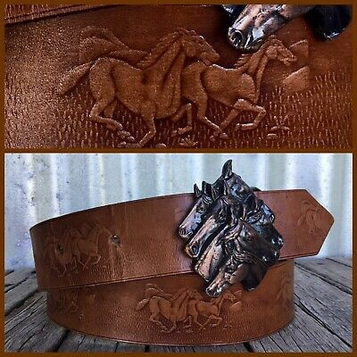 VINTAGE Tan TOOLED LEATHER BELT Horse Head Buckle WILD HORSES