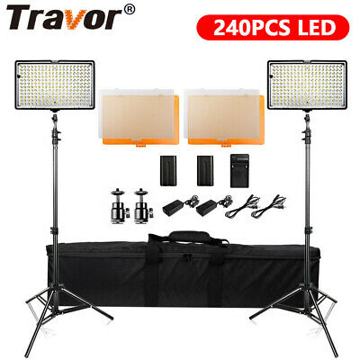 Travor 2 PACK TL-240 Dimmable LED Video Light Panel for Camcorders Lighting Kits
