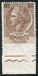 Siracusana Lire 100 stelle II dent. 13,1/4 non dent. In basso