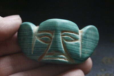 Old Chinese hongshan culture jade Hand-carved turquoise Amulet Pendant Y7