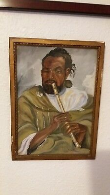 """PAINTING OF NORTH AFRICAN PICTURE """" Old man playing a flute"""" SIGNED"""