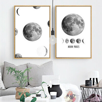 2 Piece Wall Art Decor Prints - Black and White Moon Phases Canvas Unframed