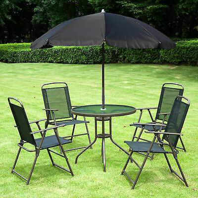 Outsunny Garden Patio Furniture Bistro Set Foldable Chairs Table Parasol