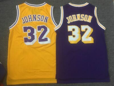 hot sale online cfb1b 6454f MAGIC JOHNSON #32 L.A. Lakers Classic Throwback Jersey (Gold ...