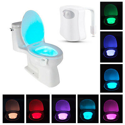 Hot 8 Colors LED Motion Sensing Automatic Toilet Bowl Night Light Bathroom Lamp