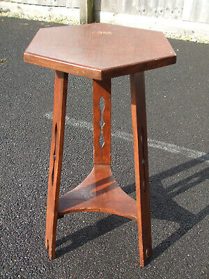 Antique Arts & Crafts fretted oak lamp table, fast economy post