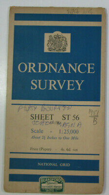 1951 Old Vintage OS Ordnance Survey 1:25000 First Series Map ST 56 Chew Magna