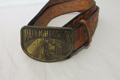 Rockmount Leather Belt Size 40 Embossed With Raleigh Lights Buckle Ranch Wear
