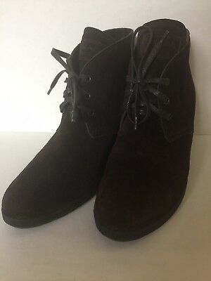 da6247e6 PRADA Linea Rossa Suede Desert Hidden Wedge Boot in Brown Lace-Up Booties  Sz 40
