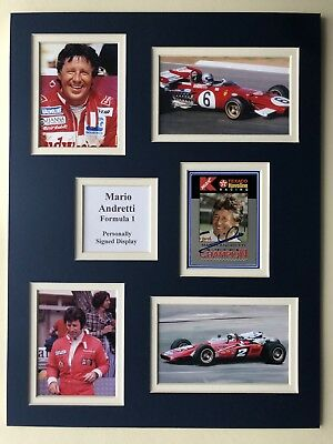 "Formula 1 Mario Andretti Signed 16"" X 12"" Double Mounted Display"