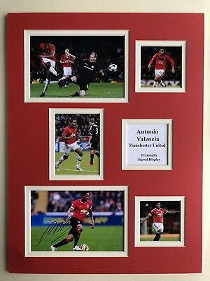 "Manchester United Antonio Valencia Signed 16"" X 12"" Double Mounted Display"