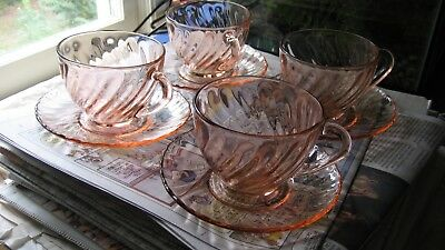 "Vintage Arcoroc Pink Swirl Scalloped Depression Glass Cups & 5.25"" Saucers"