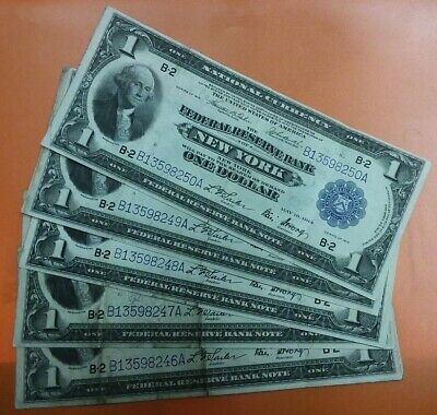 + 1918 $1 Bill Lot 5 SEQUENTIAL Consecutive HORSEBLANKET Federal Reserve Notes +