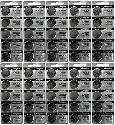 100 FRESH Genuine Energizer CR2025 2025 3V Coin Button Battery Fast Shipping