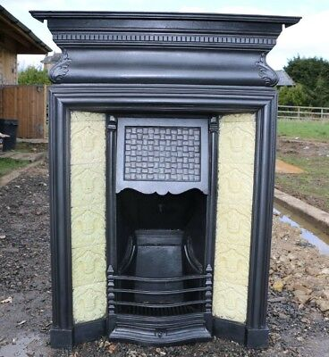 Antique Edwardian Cast Iron Tiled Combination Fireplace Victorian Rare Old