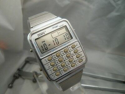 !! Rare Vintage Stempo Piano Game Digital Lcd Watch - Very Nice, Working !!