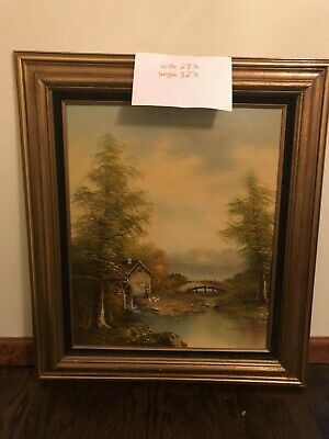 Vintage European landscape  TreeCottage by the River oil painting signed Dickens
