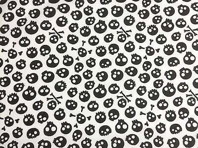 New Polycotton Fabric Black White Skulls Pirate Halloween Material CRAFT