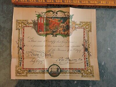 """Orig 1857 8.5""""x10"""" Facsimile of FDNY NYC Fireman Appointment from 1787"""