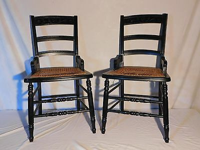 """VINTAGE/ANTIQUE Set of 2  CANE SEAT WOOD CHAIRS 34"""" TALL x 16"""" x 18"""""""