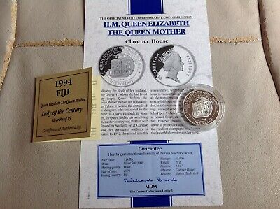 Queen Mother Clarence House 1994 Fiji $5 Five Dollars Silver Proof Coin BUNC COA