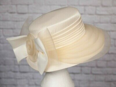 VINTAGE Hat Ivory Satin Bow Back Goodwood Wedding Races Formal C&A 1920s 30s 80s