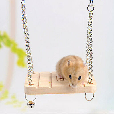 1X Hamster Toy Hanging Swing Rat Parrot Wooden Natural Exercise Funny DP