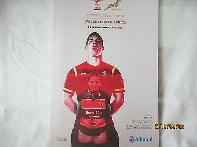 Wales v South-Africa. Rugby Union. Programme. November 2016.